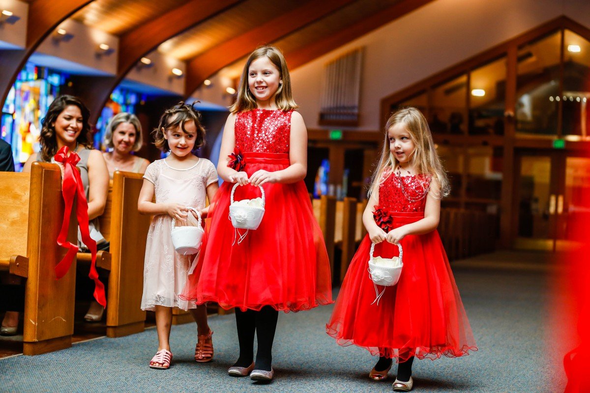 Littleton wedding photographer Catholic church flower girls
