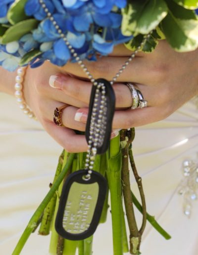 Littleton wedding photographer military dog tags details flower bouquet