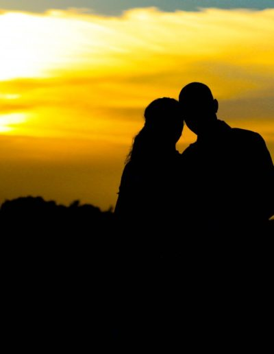Littleton wedding photographer silhouette sunset bride and groom
