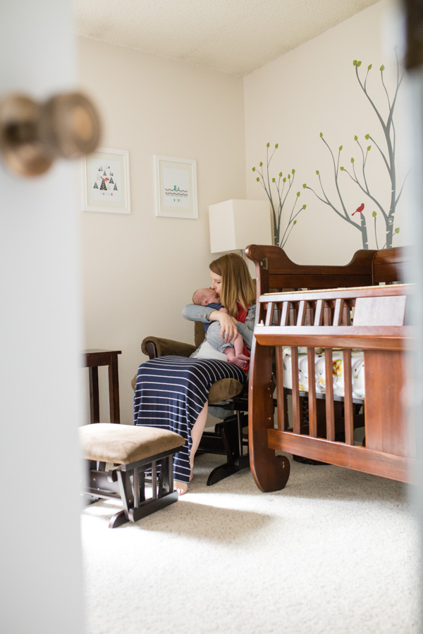 Littleton photographer near me afffordable lifestyle baby nursery mother child newborn in home natural light real life