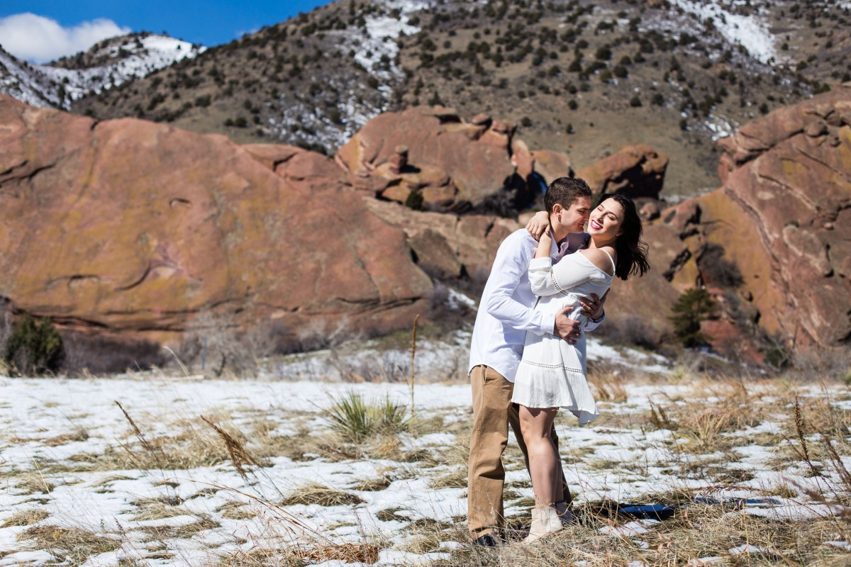 Red Rocks photography Littleton photographer engagement session snow engaged