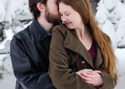 snow Littleton photographer engagement session engaged photography