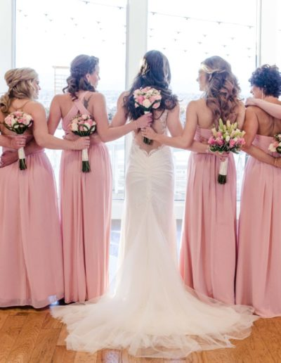 Littleton wedding photographer bride bridesmaids flowers The Falls Event Center Colorado photography