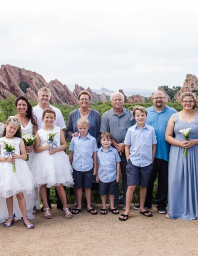 Littleton wedding photographer Roxborough State Park red rock formations wedding party bride groom bridesmaids groomsmen flower girl love marriage married