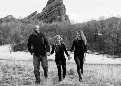 Littleton family photographer South Valley Open Space Park Ken Caryl valley park Colorado foothills photography red rocks rock formations love cowboy boots winter snow walking mother father daughter tween girl