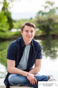 Littleton family photographer high school senior portrait Columbine boy football player Lakewood Heritage Center Colorado photography lake Belmar park summer class of 2020 casual real natural light sunset golden hour