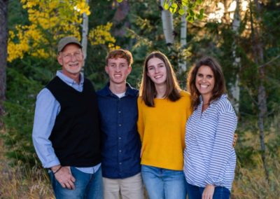 Littleton family photographer in Colorado at Three Sisters park Evergreen aspen trees yellow leaves fall teen teens sibling high school senior photography