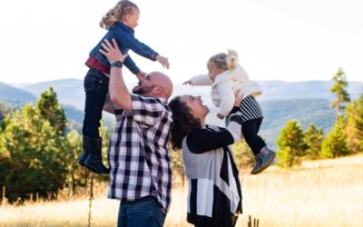 The {G} Family of 4 at Mt. Falcon park by Littleton photographer