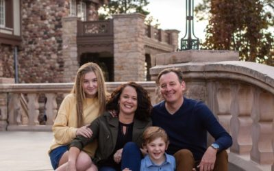 The {S} Family of 4 at the Highlands Ranch Mansion by Littleton photographer
