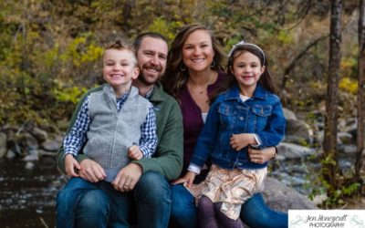 The {T} Family of 4 in Downtown Morrison by Littleton photographer