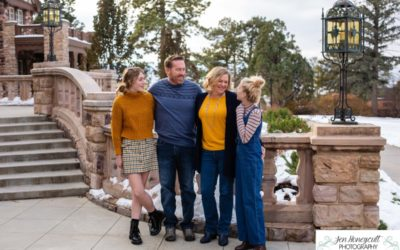 THe {B} Family of 4 at the Highlands Ranch Mansion by Littleton photographer