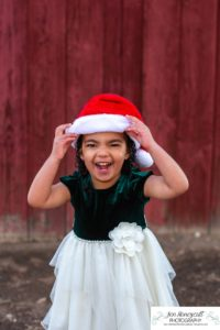 Littleton family photographer in Colorado at the Highlands Ranch Mansion little girl in a Santa hat red barn winter dress cute