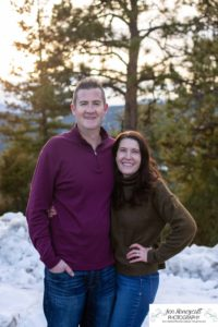 Littleton family photographer in Colorado with snow at Mt. Falcon park big sister little brother sweet couple in love married marriage sunset and golden hour
