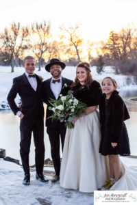 Littleton wedding photographer in Colorado at the Lakewood Country Club and golf course bride groom winter snow stone bridge fedora hat marriage married cake white dress in love family ceremony