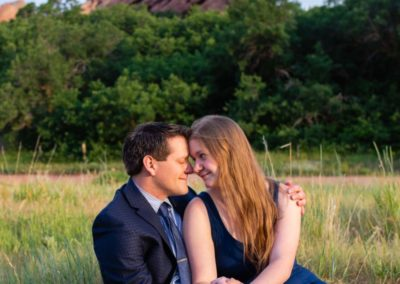Littleton wedding photographer engaged engagement photo session in love couple red rocks rock formations South Valley Open Space park Colorado