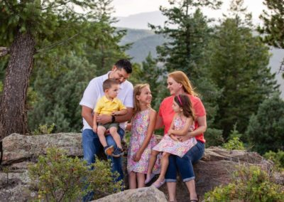 Littleton family photographer Colorado foothills mountain view views Mt. Falcon park Indian Hills Jefferson County kids children summer sunset golden hour natural light photography