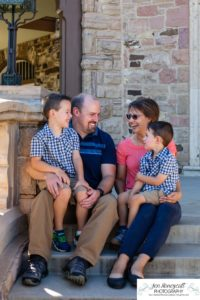 Littleton family photographer Highlands Ranch Mansion Colorado boys kids children summer natural light old stone house building love masks COVID virus