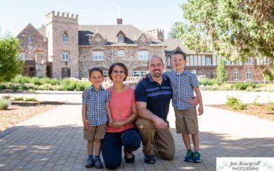 The {H} family of 4 at the Highlands Ranch Mansion by Littleton photographer