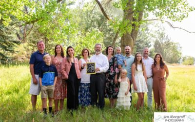 The {N} extended family session at Fly'N B park in Highlands Ranch, CO by Littleton photographer for a 50th wedding anniversary
