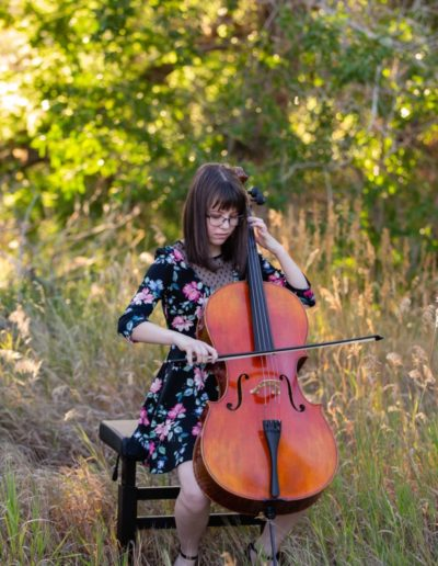 Littleton high school senior photographer Colorado Hildebrand Ranch valley girl cello player Standley Lake portrait session music instrument smart bright natural light class of 2021