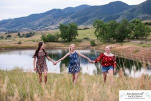 Littleton family and teen photographer Colorado South Valley Open Space park Ken Caryl red rocks rock formations best friends girls high school freshman teenagers COVID-19 pandemic photo session natural light photography