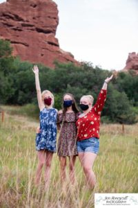 Littleton family and teen photographer Colorado South Valley Open Space park Ken Caryl red rocks rock formations best friends girls high school freshman teenagers COVID-19 pandemic photo session natural light photography masks