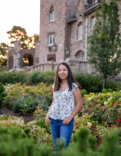 Littleton high school senior photographer Highlands Ranch Mansion Rock Canyon violin player violinist girl fall natural light photography sunrise photo portrait session