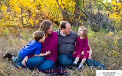 The {D} family of 4 at Writer's Vista park for a fall photo session by Littleton photographer