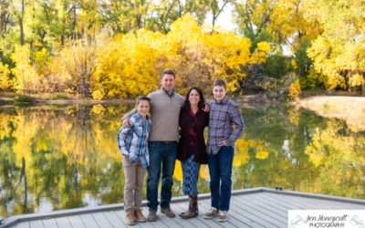 The {J} family of 4 at Fly'N B park in Highlands Ranch, CO by local Littleton photographer for a fall photo session