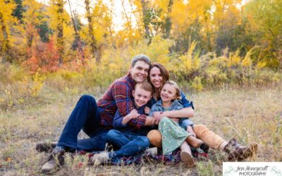 The {B} family of 4 at Lair O' the Bear in Morrison for a fall photo session by Littleton photographer
