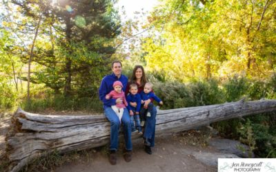 The {E} family of 5 with twins at Fly'N B park in Highlands Ranch, CO by local Littleton photographer