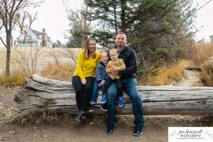 Littleton family photographer Fly'N B park Highlands Ranch Colorado CO foothills fall photo session boys brothers leaves old wooden bridge kids children fun playing natural light photography