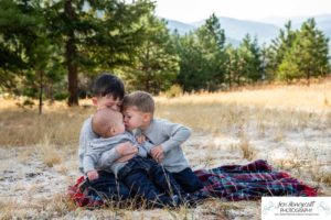 Littleton family photographer Colorado Mt. Falcon park Indian Hills mountain views mountains foothills fall photo session boys brothers kids children fun playing natural light photography