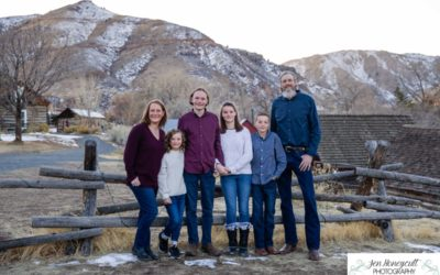 The {P} family of 6 at Clear Creek History park in Golden, Colorado by Littleton photographer