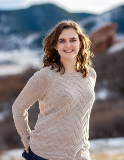 Littleton high school senior photographer winter snow South Valley Open Space park red rocks rock formations girl beautiful cute teen young woman portrait photography