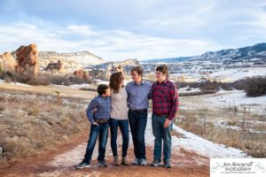Littleton family photographer South Valley Open Space park winter Christmas snow teen teens brothers sister older kids children sunset natural light photography boy girl mother father daughter sons red rocks