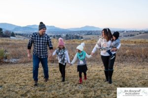 Littleton family photographer mini photo session Colorado park foothills sunset kids children brother sister little big in laws snow winter cold photography mother father daughter son