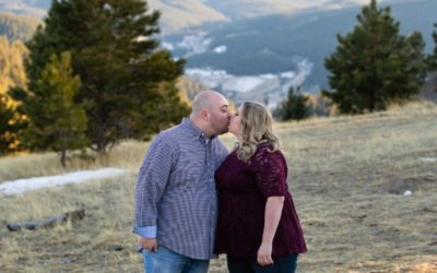 Travis & Ashley's engagement photo session at Mt. Falcon park by local Littleton family photographer