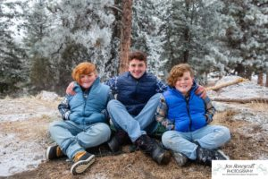 Littleton family photographer Mt. Falcon sub zero temperatures polar vortex brothers three boys father mother sons Florida vacation mountains snow photography