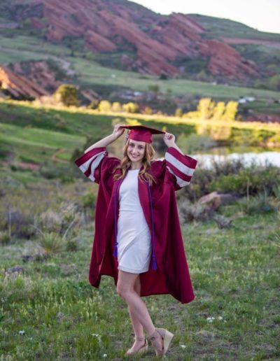 Littleton high school senior photographer cap and gown mini session Red Rocks graduate Chatfield Senior High girl class of 2021